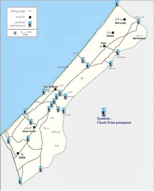 Carte Des Chek Points Gaza