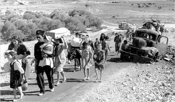 Des réfugiés palestiniens quittent la Galilée en octobre et novembre 1948 (Wikimédia)