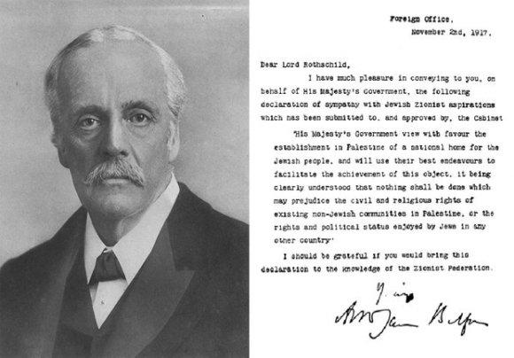Le ministre britannique des Affaires étrangères, Arthur James Balfour, et sa lettre de 1917 (Wikipédia)
